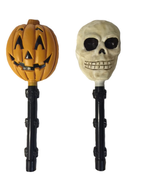 HALLOWEEN SKULL OR PUMPKIN HEAD FLASH LIGHT WAND