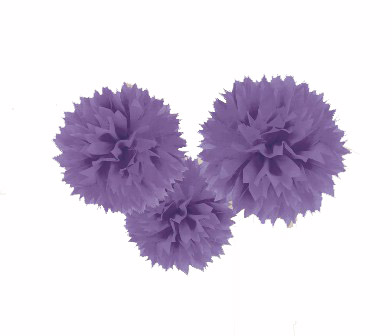 POM POM FLUFFY TISSUE DECORATION - PURPLE IN A PACK OF 3