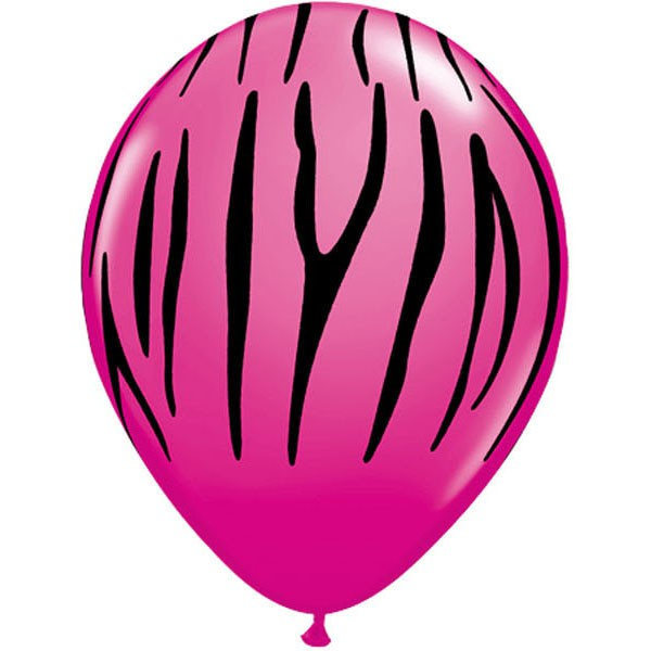 BALLOONS LATEX - JUNGLE ANIMAL STRIPES WILD BERRY PACK OF 6