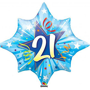 FOIL BALLOON 21ST BIRTHDAY BOY RADIANT BLAST 71CM