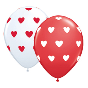 BALLOONS LATEX - RED & WHITE POLKA DOT HEARTS PACK 50