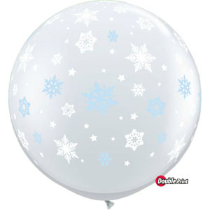 BALLOONS LATEX - DIAMOND CLEAR 'SNOWFLAKES' 3' ROUND PACK OF 2