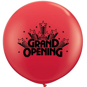 BALLOONS LATEX - RED 'GRAND OPENING 3' ROUND BALLOONS PACK OF 2