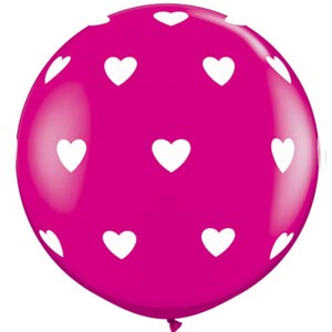 BALLOONS LATEX - WILDBERRY 'BIG HEARTS' 3' ROUND PACK OF 2