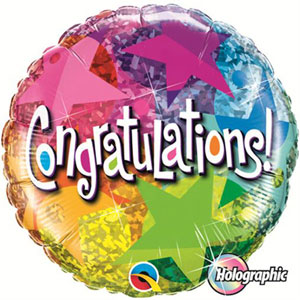 FOIL BALLOON - CONGRATULATIONS STAR PATTERNS HOLOGRAPHIC 45CM