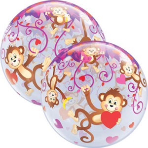 BUBBLE BALLOON - VALENTINE LOVE MONKEYS