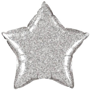 FOIL BALLOON STAR SHAPE - HOLOGRAPHIC JEWEL SILVER