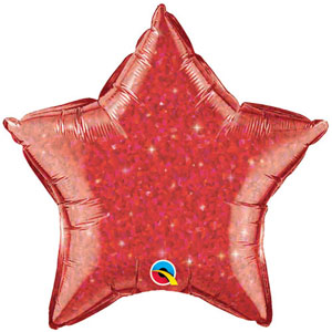 FOIL BALLOON STAR SHAPE - HOLOGRAPHIC JEWEL RED