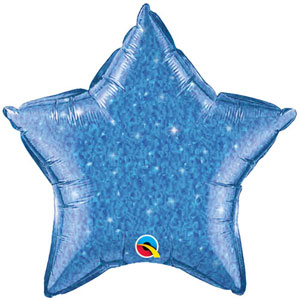 FOIL BALLOON STAR SHAPE - HOLOGRAPHIC JEWEL BLUE