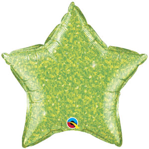 FOIL BALLOON STAR SHAPE - HOLOGRAPHIC JEWEL LIME