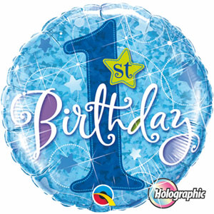 FOIL BALLOON - 1ST BIRTHDAY STARS BLUE HOLOGRAPHIC