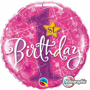 FOIL BALLOON - 1ST BIRTHDAY STARS PINK HOLOGRAPHIC