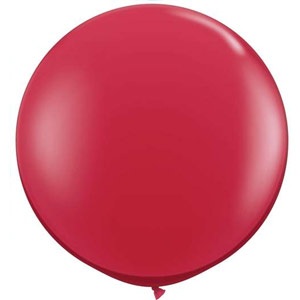 BALLOONS LATEX - JEWEL TONE RUBY RED 3\' ROUND