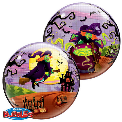 BUBBLE BALLOON - FLYING SPOOKY WITCH