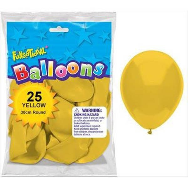 BALLOONS LATEX - FUNSATIONAL YELLOW PACK OF 25