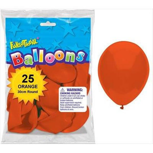 BALLOONS LATEX - FUNSATIONAL ORANGE PACK OF 25