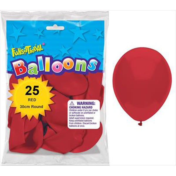 BALLOONS LATEX - FUNSATIONAL RED PACK OF 25