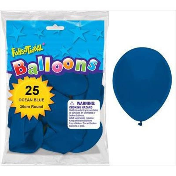 BALLOONS LATEX - FUNSATIONAL OCEAN BLUE PACK OF 25