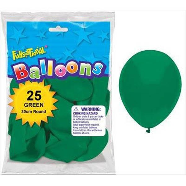 BALLOONS LATEX - FUNSATIONAL GREEN PACK OF 25