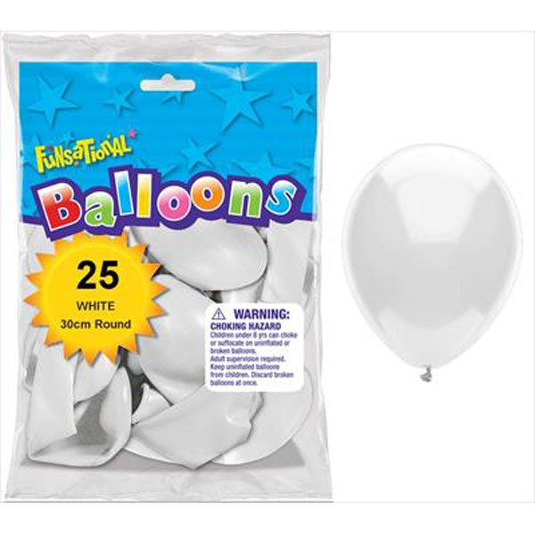 BALLOONS LATEX - FUNSATIONAL WHITE PACK OF 25