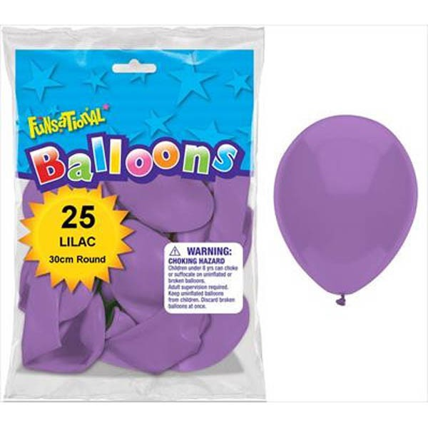 BALLOONS LATEX - FUNSATIONAL LILAC PACK OF 25