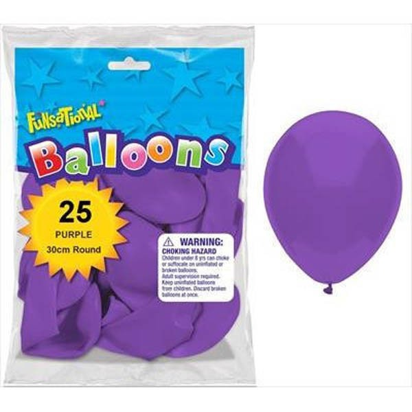 BALLOONS LATEX - FUNSATIONAL PURPLE PACK OF 25