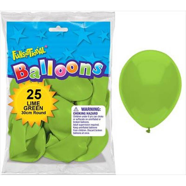 BALLOONS LATEX - FUNSATIONAL LIME GREEN PACK OF 25
