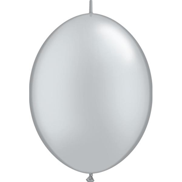 BALLOONS LATEX - QUICK LINK PEARL SILVER PACK OF 50