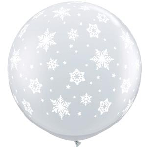 BALLOONS LATEX - DIAMOND CLEAR 'WHITE SNOWFLAKES' 3' ROUND PK 2