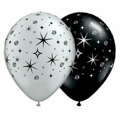 BALLOONS LATEX - SILVER & BLACK PK 6 SPARKLES AND SWIRLS