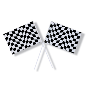 CHECKERED FLAG 2 PIECE HAND-HELD
