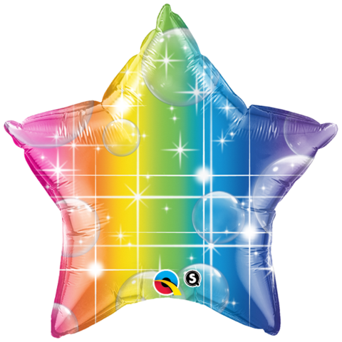 FOIL BALLOON STAR SHAPE - RAINBOW