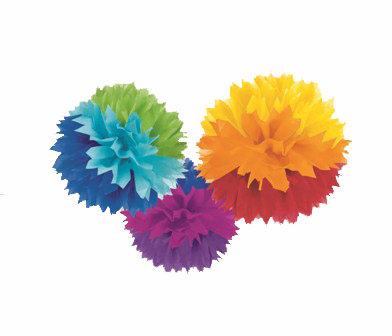 POM POM FLUFFY TISSUE DECORATION - RAINBOW IN A PACK OF 3