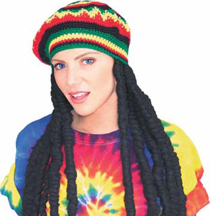 DREADLOCKS WIG WITH BOB MARLEY CAP