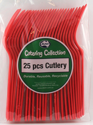 DISPOSABLE CUTLERY - RED FORKS PK 25