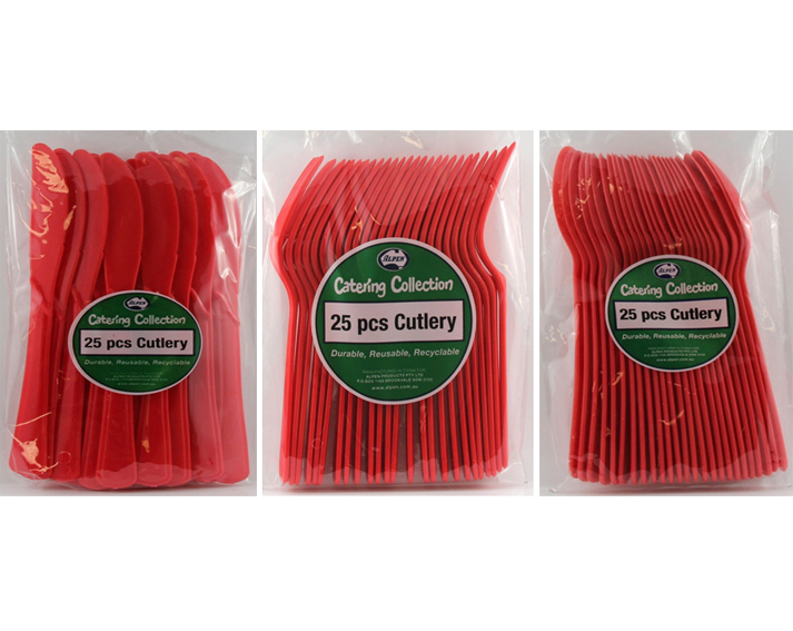 CHRISTMAS RED CUTLERY HIGH QUALITY - PACK 75
