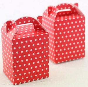 RED POLKA DOT NOODLE BOXES - PK 6