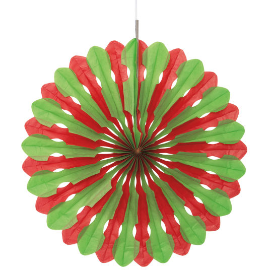 DECORATIVE FAN - RED & GREEN 40CM