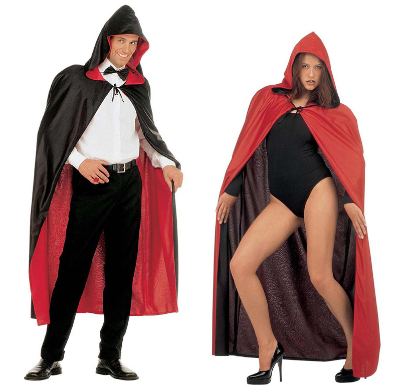 HOODED UNISEX CAPE REVERSIBLE RED OR BLACK - SOFT POLYESTER