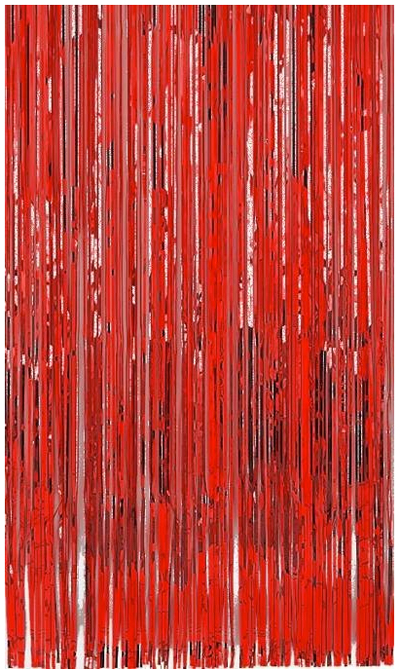 METALLIC FOIL CURTAIN - RED