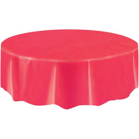 Image of Christmas Red Plain Table Cover  Circular