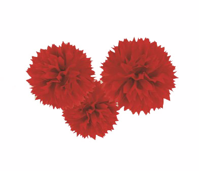 POM POM FLUFFY TISSUE DECORATION - RED IN A PACK OF 3