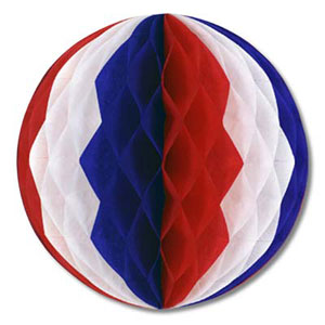 FRENCH PATRIOTIC RED, WHITE & BLUE TISSUE BALL