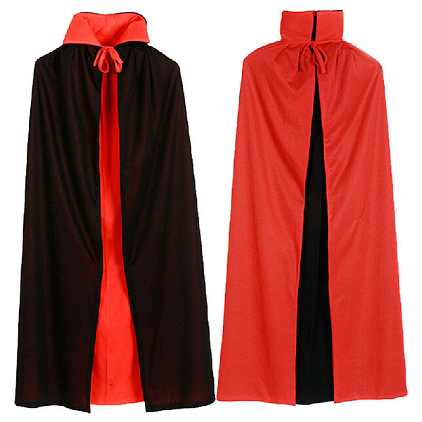 BLACK & RED REVERSABLE SATIN CAPE 8 - 12 YRS