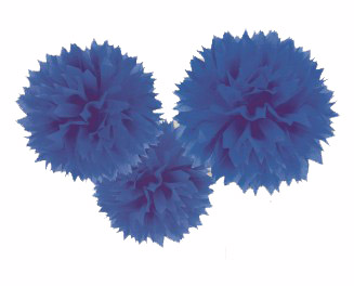 POM POM FLUFFY TISSUE DECORATION - ROYAL BLUE IN A PACK OF 3
