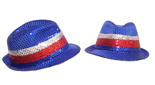 AUSSIE PATRIOTIC RED, WHITE & BLUE FLASHING FEDORA