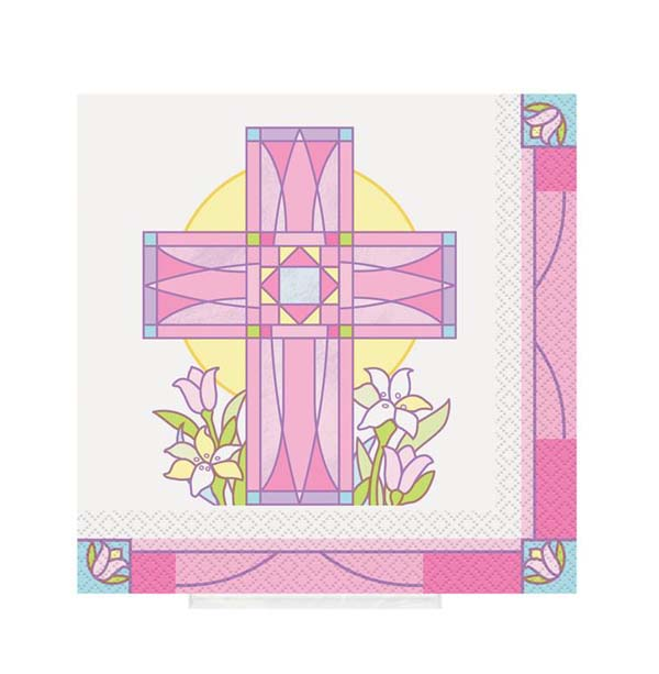 SACRED CROSS PINK - COCKTAIL NAPKINS PACK OF 16