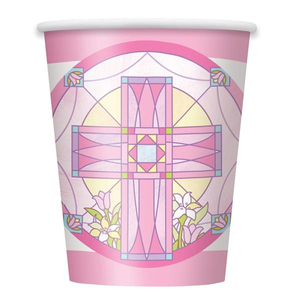 SACRED CROSS PINK - CUPS PACK OF 8