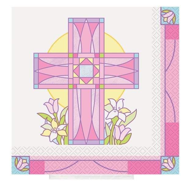 SACRED CROSS PINK - LUNCH NAPKINS PACK OF 16