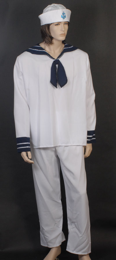 DELUXE SAILOR FANCY DRESS COSTUME & HAT - SMALL/MEDIUM